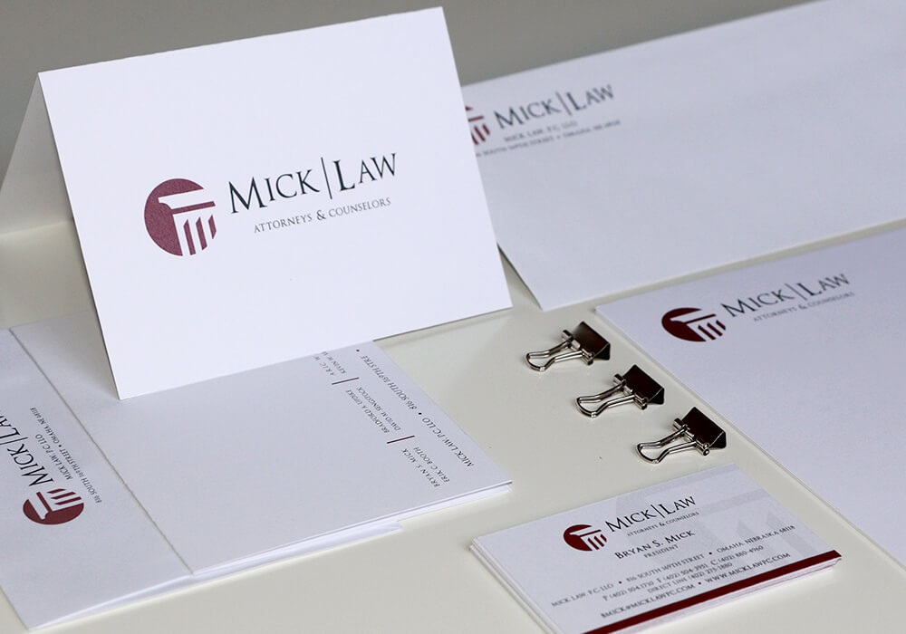 legal firm stationary, omaha print design